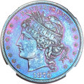 Patterns, 1879 $1 Goloid Metric Dollar, Judd-1628, Pollock-1824, R.7, PR67 Red and Brown NGC....