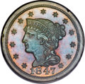 Proof Large Cents, 1847 1C PR64 Brown PCGS. CAC. N-42, High R.6....