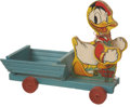Memorabilia:Disney, Donald Duck with Cart Pull Toy #544 (Fisher-Price, 1942)....
