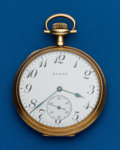 Timepieces:Pocket (post 1900), Elgin, 12 Size, 14k, Open Face. ...
