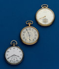Timepieces:Pocket (post 1900), Three - 12 Size, Pocket Watches, Swiss Birks, Illinois, Hamilton.... (Total: 3 Items)