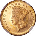 Three Dollar Gold Pieces, 1872 $3 MS63 Prooflike NGC....