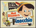 "Movie Posters:Animated, Pinocchio (RKO, R-1954). Half Sheet (22"" X 28"") Style B. Animated.. ..."