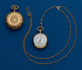 Timepieces:Pocket (post 1900), Two - Swiss Ladies Gold Pendant Pocket Watches, One Gold NeckChain. ... (Total: 2 Items)