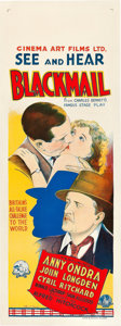"""Movie Posters:Hitchcock, Blackmail (British International Pictures, 1929). AustralianDaybill (15"""" X 40"""").. ..."""