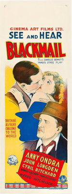 "Blackmail (British International Pictures, 1929). Australian Daybill (15"" X 40"")"