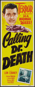 """Movie Posters:Mystery, Calling Dr. Death (Realart, R-1953). Insert (14"""" X 36""""). Mystery.. ..."""