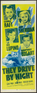 """Movie Posters:Drama, They Drive by Night (Dominant Pictures, R-1956). Insert (14"""" X 36""""). Drama.. ..."""