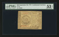 Colonial Notes:Continental Congress Issues, Continental Currency September 26, 1778 $50 PMG About Uncirculated53 EPQ.. ...