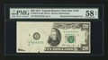 Error Notes:Obstruction Errors, Fr. 2072-B $20 1977 Federal Reserve Note. PMG Choice About Unc 58EPQ.. ...