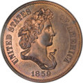 Patterns, 1859 P50C Half Dollar, Judd-242, Pollock-298, R.5, PR66 Red andBrown NGC....