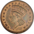 Patterns, 1884 G$1 Gold Dollar, Judd-1733, Pollock-1944, R.7-8, PR64 Red and Brown PCGS....