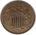Patterns, 1867 5C Shield Five Cents, Judd-573, Pollock-649, 650, Low R.6, PR64 Brown PCGS....