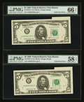 Error Notes:Foldovers, Fr. 1979-A $5 1988 Federal Reserve Notes. Two Consecutive Examples.PMG Gem Uncirculated 66 EPQ and Choice About Unc 58 EPQ.... (Total:2 notes)