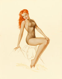 ALBERTO VARGAS (American, 1896-1982) Varga Girl, Esquire calendar illustration, February 1946 Waterc