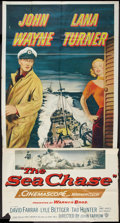 "Movie Posters:War, The Sea Chase (Warner Brothers, 1955). Three Sheet (41"" X 81"").War.. ..."