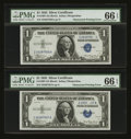 Error Notes:Obstruction Errors, Fr. 1607 $1 1935 Silver Certificates. Two Consecutive Examples. PMGGem Uncirculated 66 EPQ.. ... (Total: 2 notes)