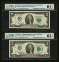 Error Notes:Mismatched Prefix Letters, Fr. 1935-B $2 1976 Federal Reserve Notes. Two Consecutive Examples.PMG Choice Uncirculated 64 EPQ.. ... (Total: 2 notes)