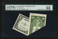 Error Notes:Foldovers, Fr. 1614 1935E $1 Silver Certificate PMG About Uncirculated 55.....