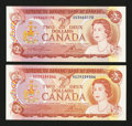 Canadian Currency: , Two Different 1974 Twos.. ... (Total: 2 notes)