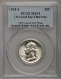 Washington Quarters, 1943-S 25C Doubled Die Obverse MS64 PCGS. FS-101....