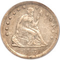 Seated Quarters, 1867-S 25C XF45 PCGS....