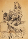 Pin-up and Glamour Art, GIL ELVGREN (American, 1914-1980). Keeping Posted, 1947.Pencil on parchment paper. 20 x 15 in.. Signed lower right. ...