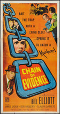"Movie Posters:Crime, Chain of Evidence (Allied Artists, 1957). Three Sheet (41"" X 81""). Crime.. ..."