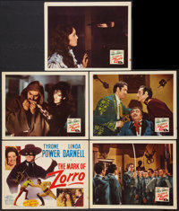 """The Mark of Zorro (20th Century Fox, R-1946). Title Lobby Card and Lobby Cards (4) (11"""" X 14""""). Swashbuckler..."""