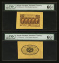 Fractional Currency:First Issue, Fr. 1282SP 25¢ First Issue Wide Margin Pair PMG Gem Uncirculated 66EPQ.. ... (Total: 2 notes)