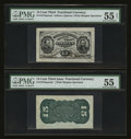 Fractional Currency:Third Issue, Fr. 1274SP/Fr. 1272SP 15¢ Third Issue Wide Margin Pair PMG About Uncirculated 55 & 55 Net.. ... (Total: 2 notes)