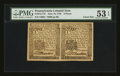 Colonial Notes:Pennsylvania, Pennsylvania June 18, 1764 3d Uncut Horizontal Pair PMG AboutUncirculated 53 EPQ.. ... (Total: 2 notes)