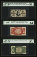 Fractional Currency:Third Issue, Fr. 1291/4SP 25¢ Third Issue Narrow Margin Set of Three. . ... (Total: 3 notes)