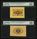 Fractional Currency:First Issue, Fr. 1231SP 5¢ First Issue Wide Margin Face PMG Choice Uncirculated64 EPQ . Fr. 1231SP 5¢ First Issue Wide Margin Back PMG... (Total:2 notes)