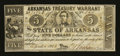 Obsoletes By State:Arkansas, (Little Rock), AR- Arkansas Treasury Warrant $5 Apr. 4, 1862 Cr. 52 Rothert 392-1. ...