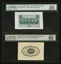 Fractional Currency:First Issue, Fr. 1313spwmf 50¢ First Issue PMG About Uncirculated 55 & Fr. 1313spwmb 50¢ First Issue PMG Gem Uncirculated 65.. ... (Total: 2 notes)