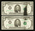 Error Notes:Ink Smears, Fr. 1974-E $5 1977 Federal Reserve Note. Choice CrispUncirculated.. ... (Total: 2 notes)