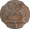 Colonials, 1787 1C Fugio Cent, STATES UNITED, 4 Cinquefoils, Pointed Rays MS63 Brown NGC. Newman 8-X, W-6750, R.3....