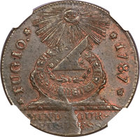 1787 1C Fugio Cent, STATES UNITED, 4 Cinquefoils, Pointed Rays MS63 Brown NGC. Newman 8-X, W-6750, R.3