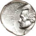 Undated Jefferson Nickel--Struck 35% Off Center on a Silver Dime Planchet--MS63 NGC