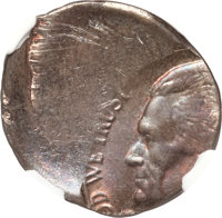 Undated Jefferson Nickel--Struck 50% Off Center on a Defective Cent Planchet--MS63 Red and Brown NGC