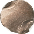 Errors, Undated Jefferson Nickel--Double Struck, Saddle Struck on a Cent Blank--MS64 Red NGC....