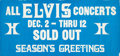 "Music Memorabilia:Posters, Elvis Presley Unused Las Vegas Hilton ""Sold Out"" Banner...."
