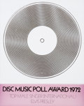 Music Memorabilia:Awards, Elvis Presley's Music Poll Award (1972)....