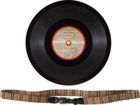 Elvis Presley's Personally Owned and Worn Belt with Photos and Rare Interview Acetate (circa 1956)