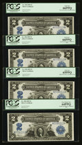 Large Size:Silver Certificates, Fr. 258 $2 1899 Silver Certificates. Cut Sheet of Four. PCGS GemNew 66PPQ (2), PCGS Gem New 65PPQ, PCGS Very Choice New 64PPQ...(Total: 4 notes)