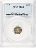 Proof Three Cent Silver, 1864 3CS PR64 PCGS....