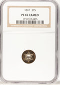 Proof Three Cent Silver, 1867 3CS PR65 Cameo NGC....
