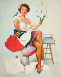 Pin-up and Glamour Art, PETER DARRO (American, b. 1917). Painting the Birdcage. Oilon board. 30 x 24 in.. Not signed. ...