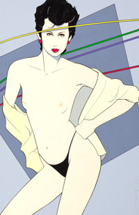 PATRICK NAGEL (American, 1945-1984) Playboy illustration, c. 1981 Mixed media on board 15 x 10 in